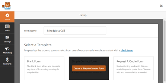 Selecting the Simple Contact Form template to start building your form