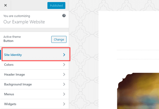 The Site Identity tab in the WordPress Theme Customizer