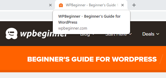 O slogan do WPBeginner mostrado na tag title