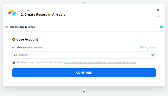 Click to continue once you've connected your Zapier account to Airtable