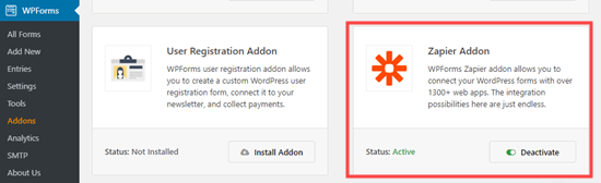 Installing the Zapier addon for WPForms
