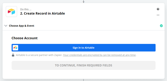 Click the button to sign into your Airtable account